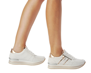 Remonte trainers D1310-81 white sneakers Rose gold detail
