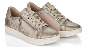 REMONTE D5821-60 LADIES BEIGE LACE UP ZIP LIFT SNEAKERS