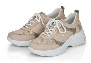 RIEKER 59426-60 LADIES BEIGE LACE UP SHOES