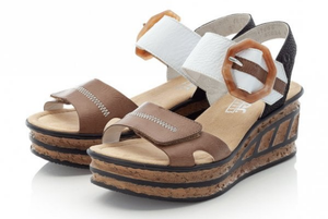 RIEKER 68176-64 LADIES BEIGE COMBINATION FASTENER SANDALS
