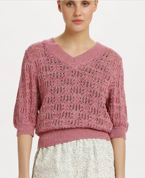 Soaked in Luxury Scaley Pullover in mesa rose, ladies jumper