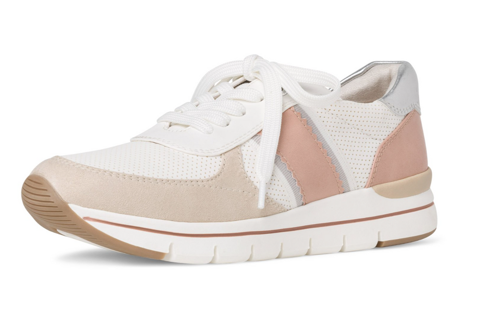 MARCO TOZZI 2-2-23710-24 WOMENS VEGAN LACED FASHION TRAINER-WHITE/PINK/NUDE