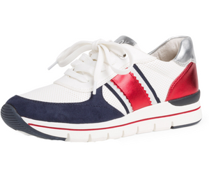 MARCO TOZZI 2-2-23710-24 WOMENS VEGAN LACED FASHION TRAINER- WHITE/NAVY/RED