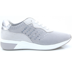 MARCO TOZZI 2-23784-24 WOMENS VEGAN LACED FASHION TRAINER- LIGHT GREY COMB