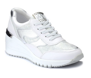 MARCO TOZZI 2-23743-34 WOMENS WEDGE LACED FASHION TRAINER- WHITE COMB