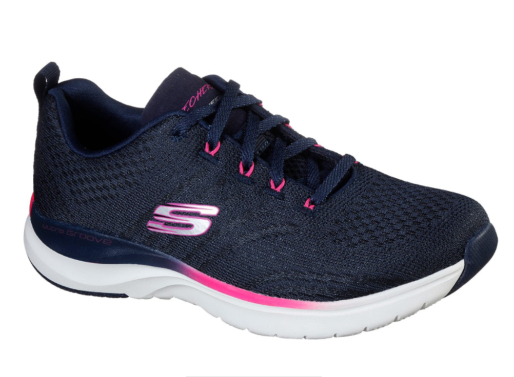SKECHERS WOMENS ULTRA GROOVE PURE VISION TRAINER- NAVY/HOT PINK