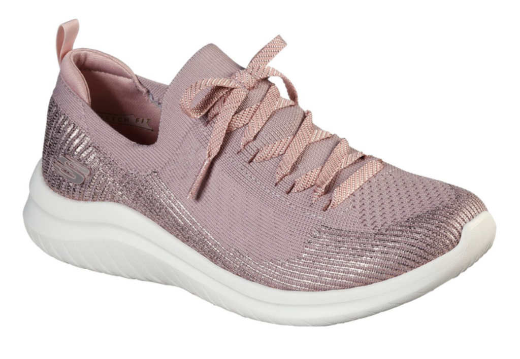 SKECHERS WOMENS ULTRA FLEX 2.0 LASER FOCUS TRAINER- MAUVE