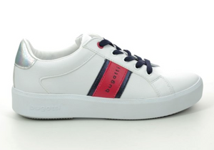 BUGATTI WOMENS 432-40718-5050 LACE UP TRAINER- WHITE/RED