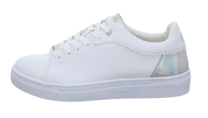 BUGATTI 431-87703-5059 WOMENS LACE UP TRAINER- WHITE/SILVER