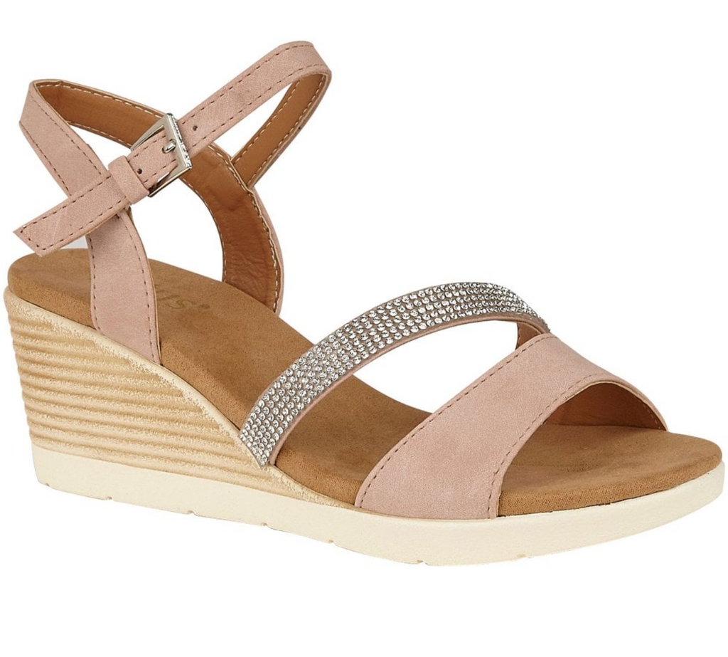 LOTUS WOMENS LILOU STRAPPY WEDGE SANDALS- PINK