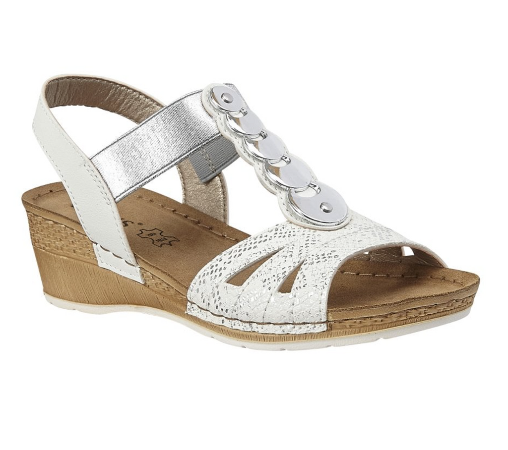 LOTUS WOMENS PADOVA WEDGE SANDALS- WHITE