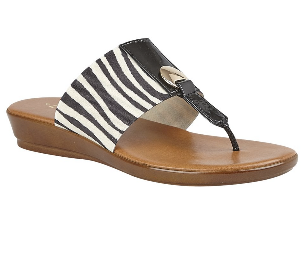 LOTUS WOMENS ARNA SLIP-ON TOE-POST SANDAL- ZEBRA
