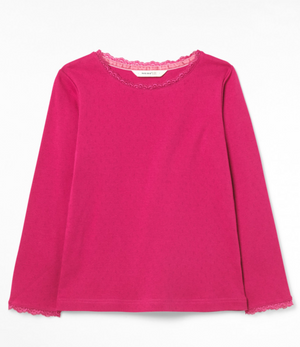 WHITE STUFF GIRLS POPPY POINTELLE TEE- PRETTY PINK