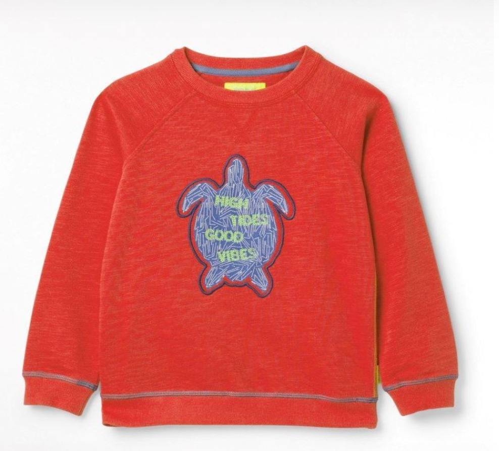 WHITE STUFF BOYS TIMMY TURTLE JERSEY SWEAT- RUST RED