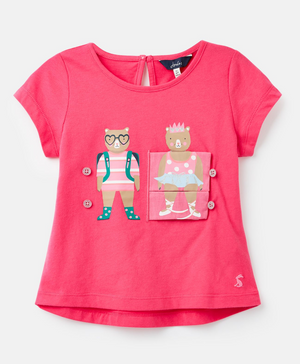 JOULES GIRLS CHOMP INTERACTIVE APPLIQUE TOP- PINK BEARS