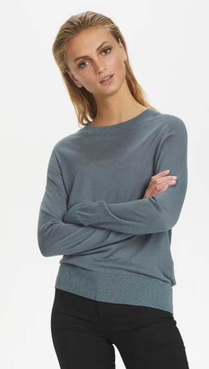 Soaked in Luxury pullover silky crew in flint stone, fine knit