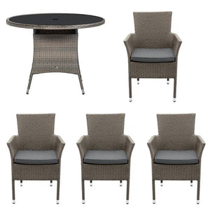 Royalcraft Malaga 4 Seater Dining Set With Stacking Carver Chairs