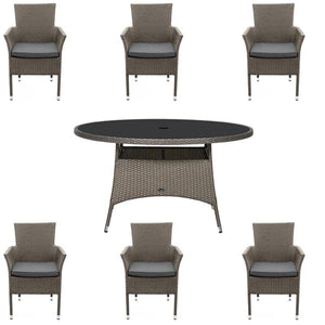 Royalcraft Malaga 6 Seater Dining Set With Stacking Carver Chairs