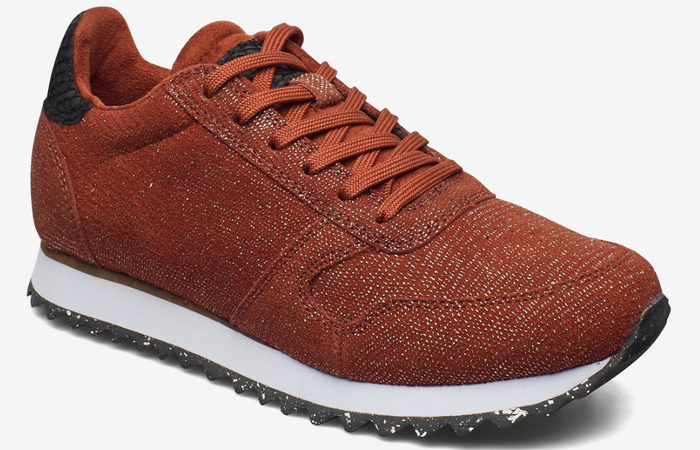 Woden ladies trainers Ydun pearl ii in rust, sparkly sneakers lace up