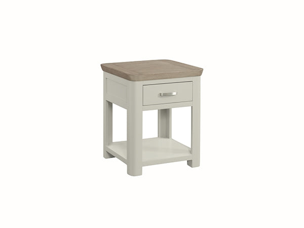 Smokey Oak Painted End Table With Drawer