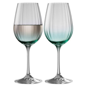 Galway Crystal Erne Wine Aqua Set of 2