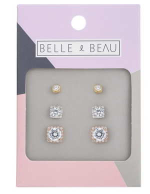 BELLE & BEAU COCKTAIL CRYSTAL SQUARE EARRING SET - ASSORTED