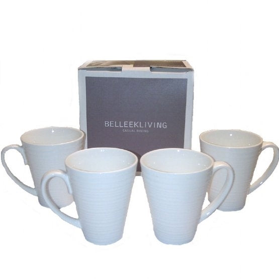 Belleek Ripple 4 piece mug set