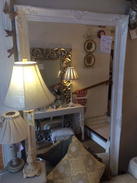 Antique Large White Mirror