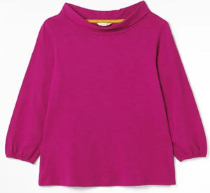 WHITE STUFF WOMENS BRUSH JERSEY TOP- BAUBLE PINK PLAIN
