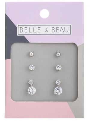 BELLE & BEAU COCKTAIL CRYSTAL CHARM EARRING SET- SILVER