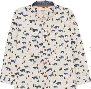 WHITE STUFF BOYS' BEAR WITH ME PRINTED SHIRT - WHITE MLT