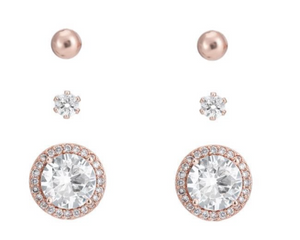 BELLE & BEAU CLASSIC SPARKLE EARRING GIFT SET - ROSE GOLD