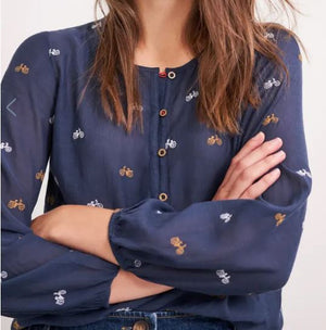 WHITE STUFF WOMENS DAILY EMBROIDERED TOP - BLUE MLT
