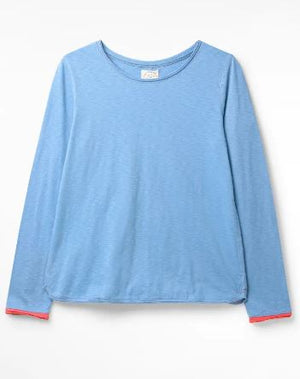 WHITE STUFF WOMENS CARLY FAIRTRADE JERSEY TEE- CORNFLOWER BLUE PLAIN