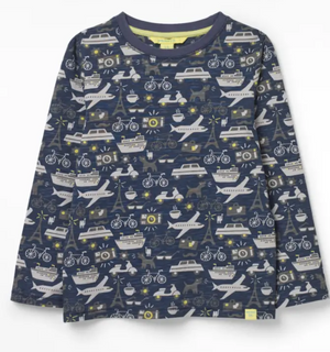 WHITE STUFF BOYS BON VOYAGE JERSEY TEE - NAVY MULTI