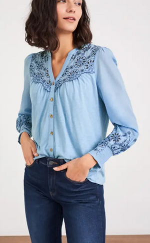 WHITE STUFF WOMENS BRODERIE JERSEY SHIRT - Light Blue