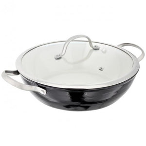 Stellar Easy Lift Cast Iron 32cm Wok With Lid Ref: JA51
