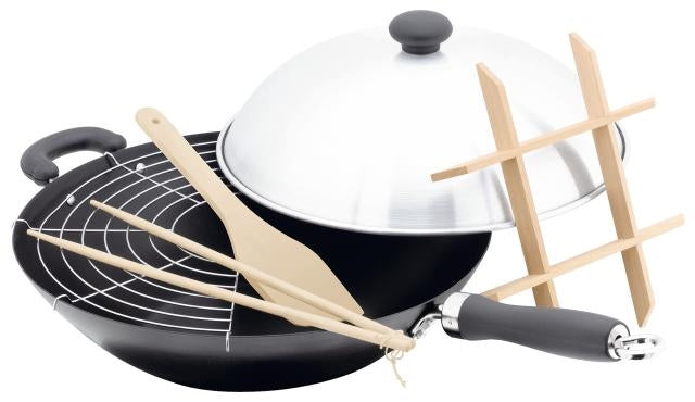 Judge 35cm Non-Stick Wok Set-High Dome Lid Steamer Rack/Spatula/Chopsticks PP118