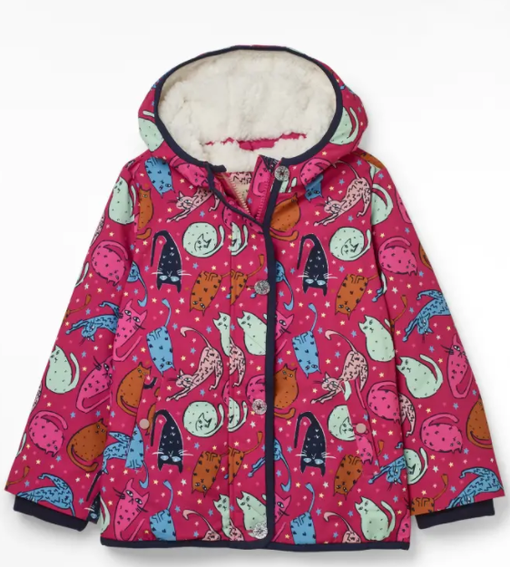 WHITE STUFF GIRLS' SPOT THE CAT COAT - PINK MLT