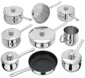 Stellar 1000 9 Piece Stainless Steel Saucepan Set - S1F2, Induction Safe