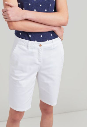 JOULES WOMENS CRUISE LONG CHINO SHORTS- BRIGHT WHITE