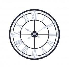Metal clock black with silver roman numerals 80cm