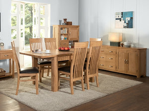 Curved Oak 6 X 3 Extension Table and 6 Chairs