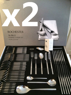 x2 Stellar Rochester Polished 58 Piece Cutlery Boxed Sets BL71, TWO SET OFFER!