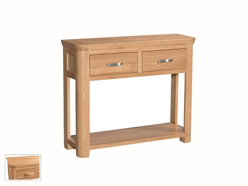 Curved Oak Large Console Table