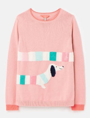 JOULES GIRLS GEEGEE INTARSIA KNIT JUMPER - Pink Dog