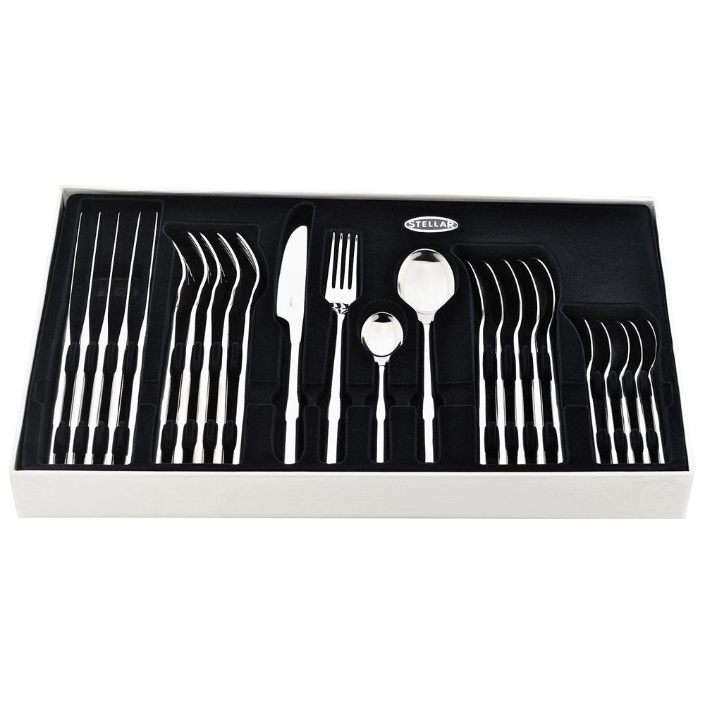 Stellar Rochester 24 Piece 18/10 Polished Cutlery Set - Gift Boxed - BL50