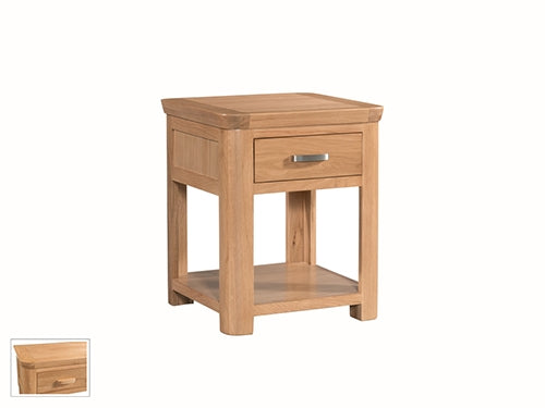 Curved Oak End Table With Drawer