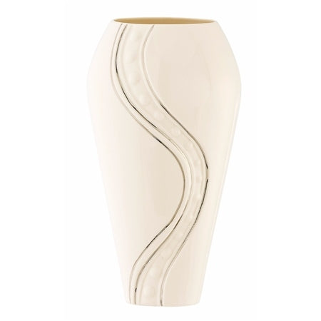 "BELLEEK LIVING SILVER RIPPLE 12"" VASE"