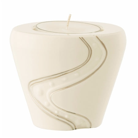 BELLEEK LIVING SILVER RIPPLE VOTIVE TEALIGHT